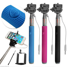 Hot selling Portable Wired Selfie Stick Handheld Monopod Built-in Shutter Extendable +Mount Holder For Any Smartphone CellPhones