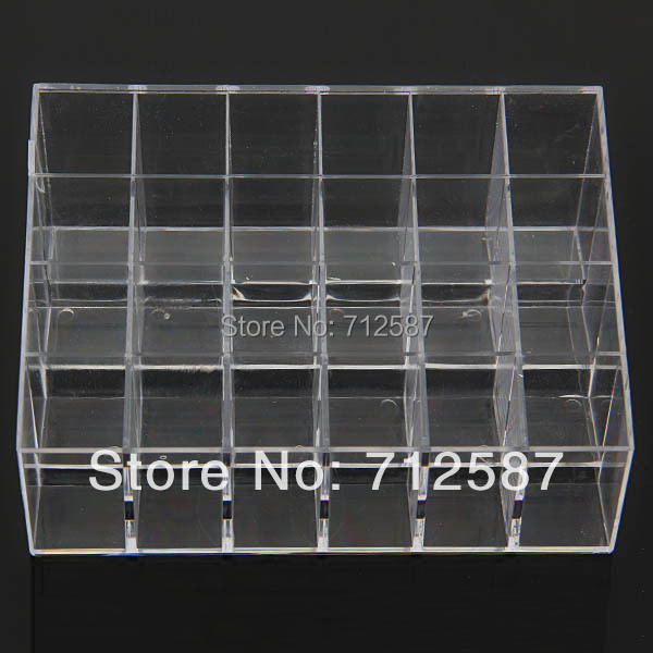 Fress shipping Clear Acrylic 24 Lipstick Holder Display Stand Cosmetic Organizer Makeup Case # 9014(China (Mainland))