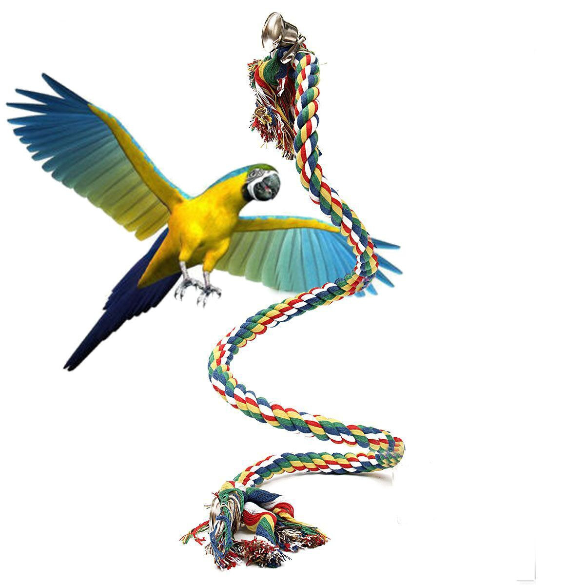 Braided Pet Parrot Chew Rope Budgie Bell Perch Coil Swing Bird Cage Conure Cockatiel Toy Pet Birds Training Accessories Favor(China (Mainland))