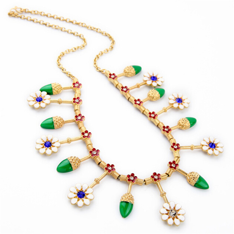 Valentine's Day Gift Fashion Gold Chain White Flower Green Leaves Enamel Collar Necklace For Women Accessories Wholesale(China (Mainland))