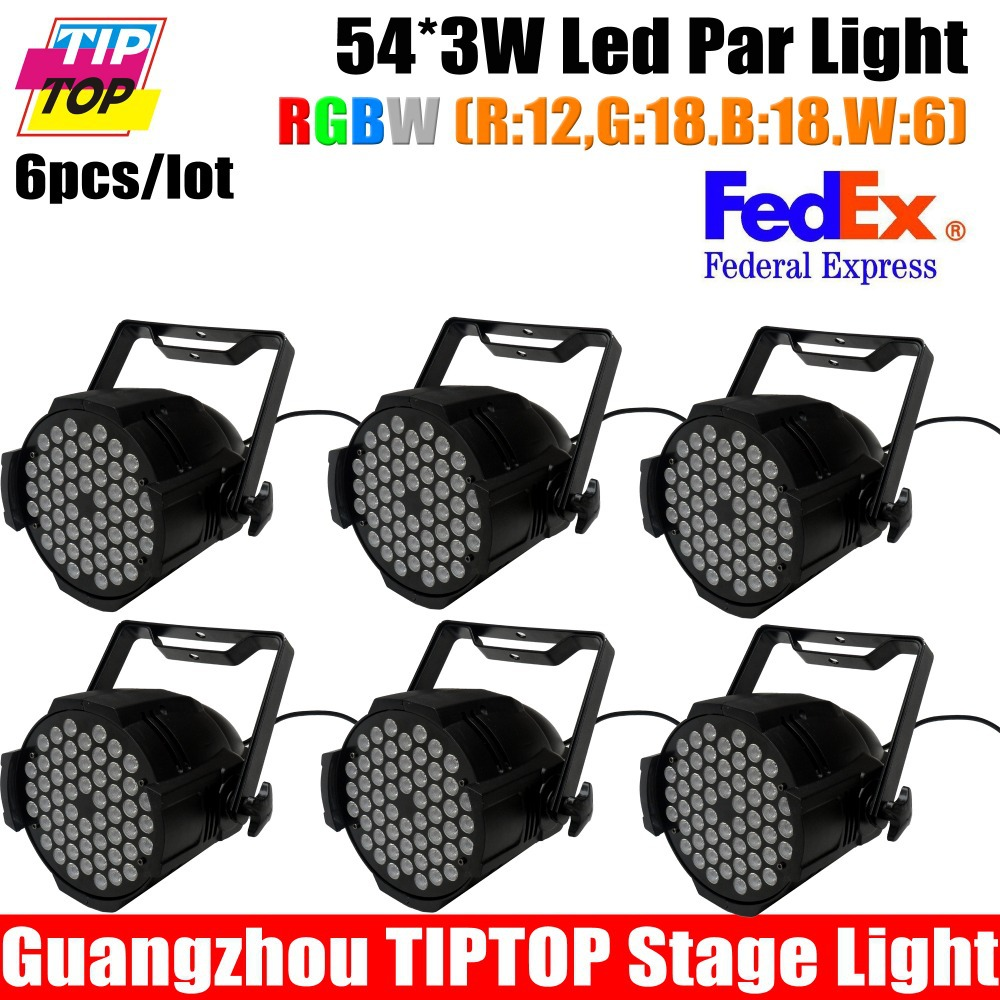 6Pcs/Lot Led stage light RGBW/RGB color 54pcs 3W LED PAR 64Light,8DMX channels Hi-quality 90V-240V sound&amp;master/slave/auto<br><br>Aliexpress