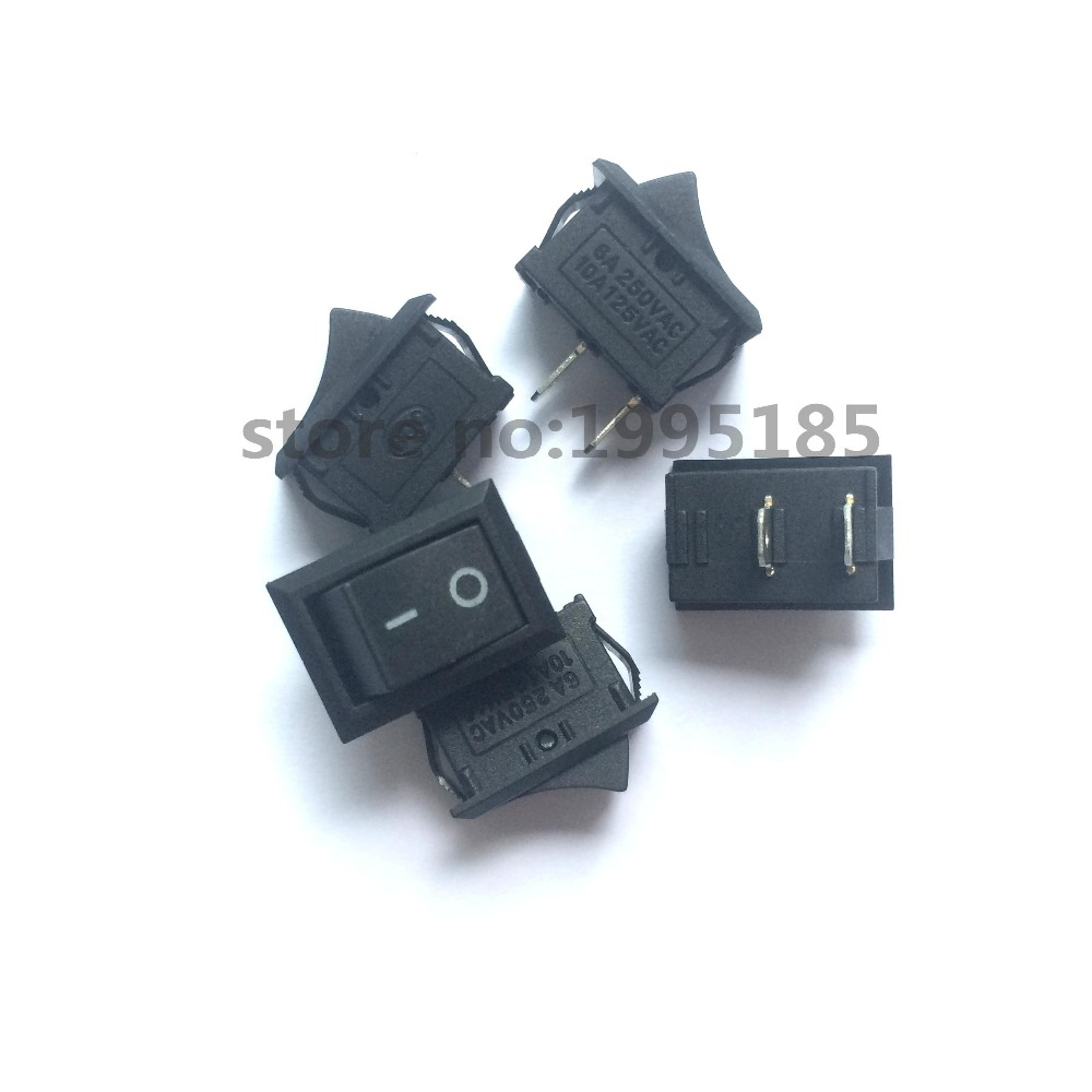 New Black Push Button Mini Switch 6A-10A 110V 250V KCD1 2Pin Snap-in On/Off Rocker Switch 5PCS/Lot 21MM*15MM BLACK(China (Mainland))