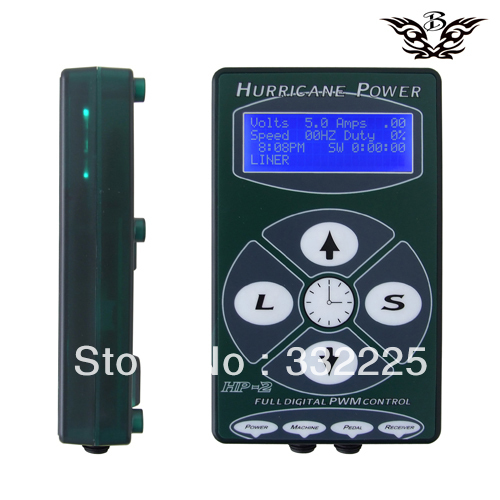 Wholesale-Transparent Green Hurricane Tattoo Power Supply HP-2 Powerful free shipping(China (Mainland))