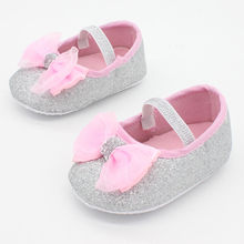 1 Pair Toddler Newborn Infant Baby Girl First Walkers Anti-slip Toddler Princess Glitter BowKnot Shoes(China (Mainland))