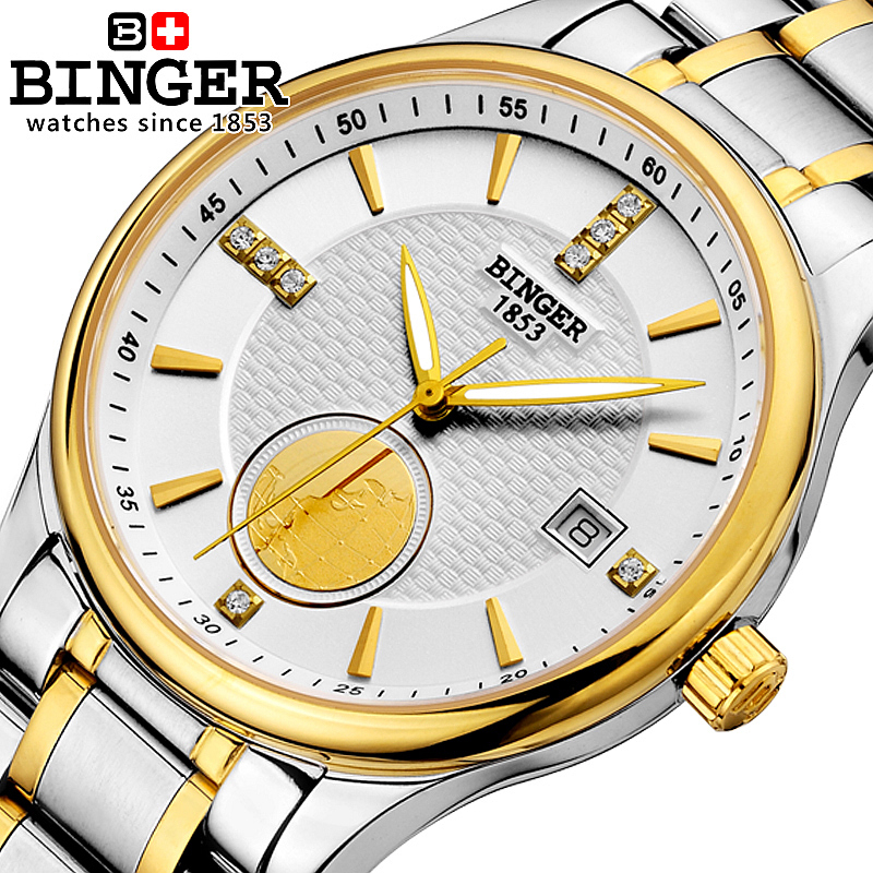 Genuine Swiss BINGER men waterproof stainless steel leather strap automatic mechanical watch fashion 18K gold business calendar(China (Mainland))