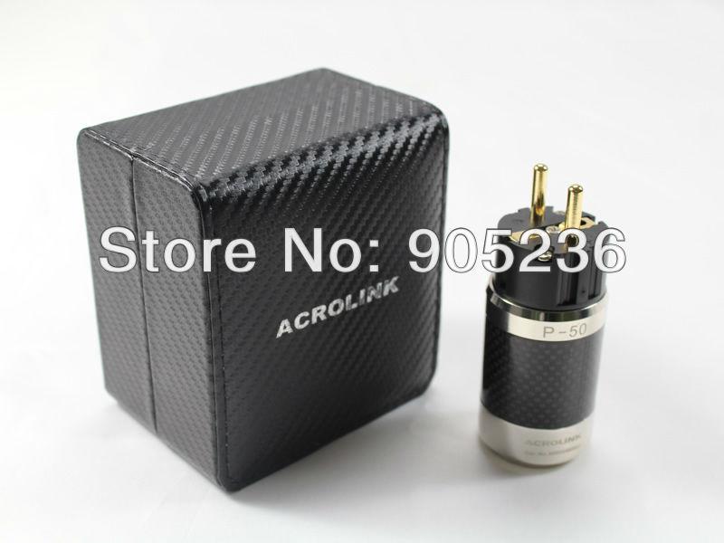 Acrolink gold plated eu schuko power plug carbon fiber