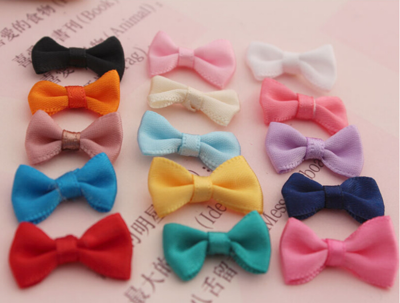 100pcs/lot Mix Color MINI Size 2CM*1CM ribbon hair bows,baby hairbows girl boutique bows without clips children hair accessories(China (Mainland))