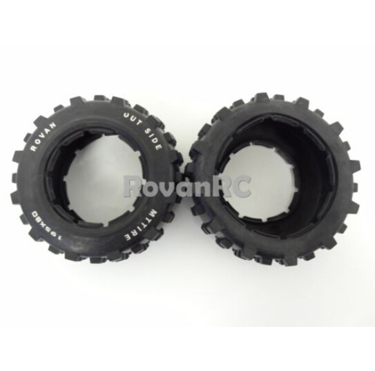 1/5 Rovan Rear Truck Knobby Tires (2) 195x80 Fits HPI Baja 5T 5SC King Motor(China (Mainland))
