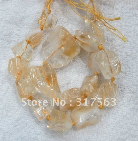 Stone beads Citrine beads 25*35 mm nugget Semi Stone Loose Beads 40 cm/strand.Free shipping,