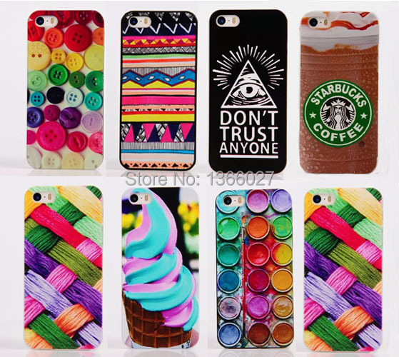 For iPhone 5S case Button/Ice cream/Colour cloth pattern PC Hard Back Case Cover For iphone 5 5g Mobile Phone case SJK0777(China (Mainland))