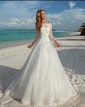 vestidos de novia Amelia Sposa Long Sleeve Wedding Dresses 2016 Spring White/Ivory Organza Lace up back Bridal Bidal Gowns(China (Mainland))
