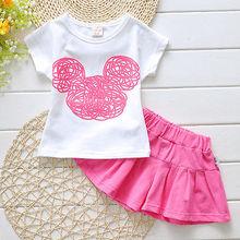 Cute Girls Clothes Baby Girls Summer Short Sleeve T-Shirt Top and Pantskirt 2PCS Kawaii Kids Girls Children Set(China (Mainland))