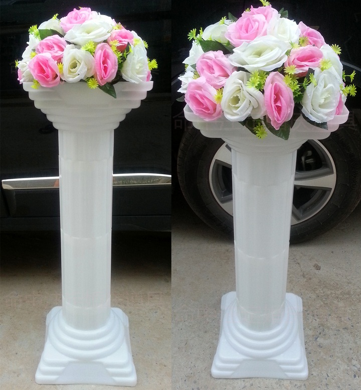 Wedding road lead column wedding decoration Plastic roman pillars 4pcs/lot wholesale banquet wedding outdoor party decor(China (Mainland))
