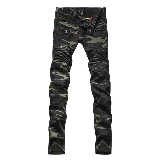 Мужская мода камуфляж в стиле милитари армия зеленый байкер джинсы Мужчина случайно ...