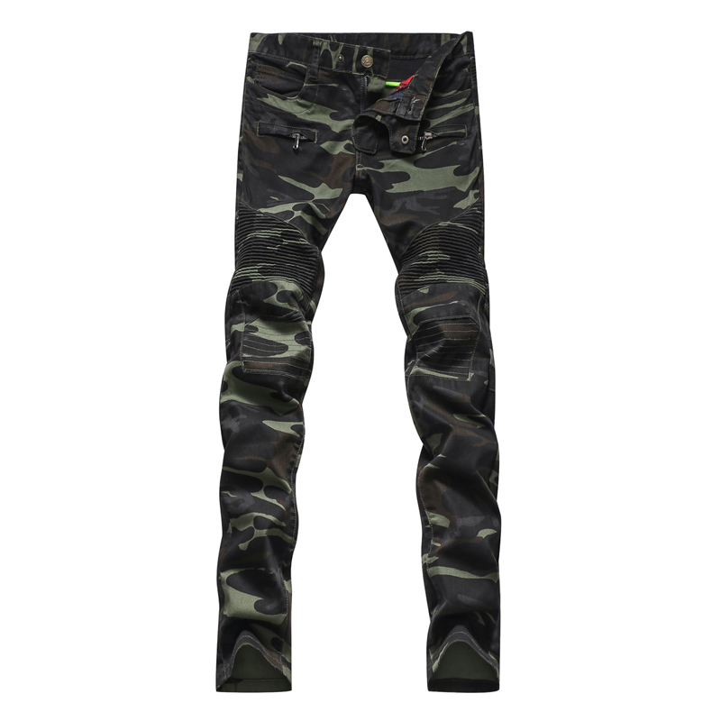 Men's fashion camouflage military style army green biker jeans Male casual patchwork skinny denim pants Long trousers(China (Mainland))
