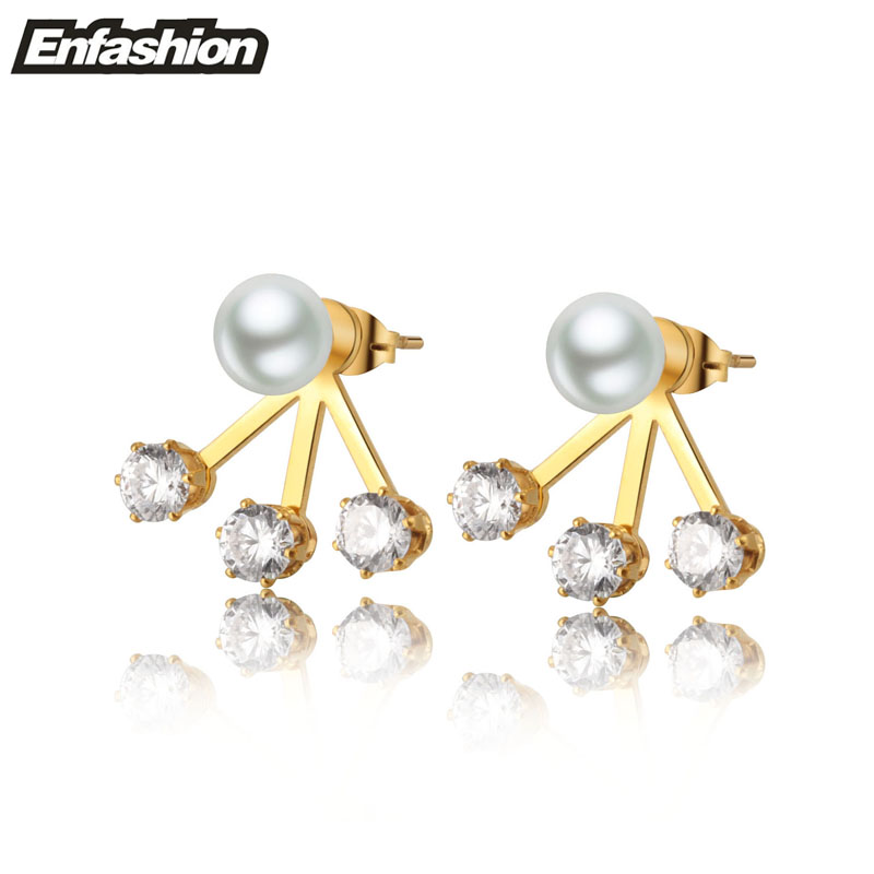 Pearl with crystal earring studs ear cuff 18K rose gold plated stud earrings stainless steel earrings fashion jewelry wholesale(China (Mainland))