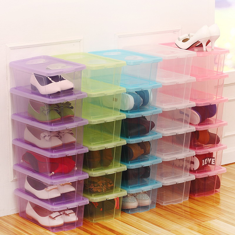 Plastic transparent with cover shoes box storage box storage bin dust-proof box shoe organizer box(China (Mainland))