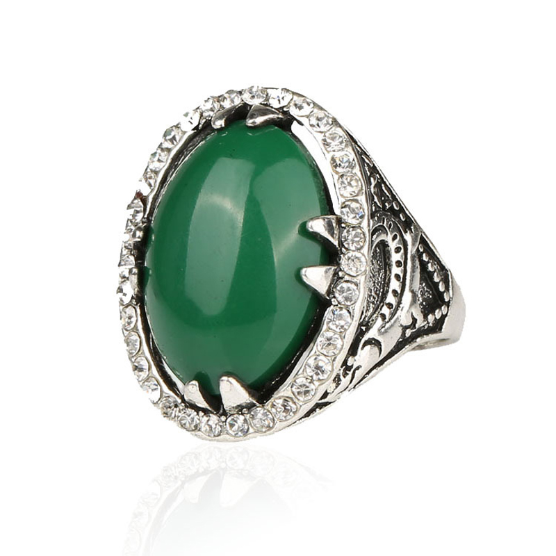 Cheape Hot Sale Plating Silver Turquoise Ring Vintage Jewelry White Crystal Green Oval Big Rings For Women Free Shipping(China (Mainland))