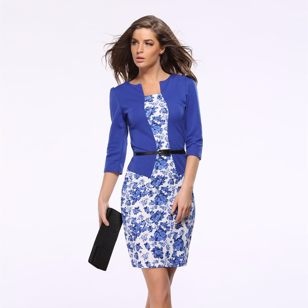 Good Quality office dress Fake two-piece Women's OL clothes three-quarter sleeves lattice Flowers hobbleskirt with Leather belt(China (Mainland))
