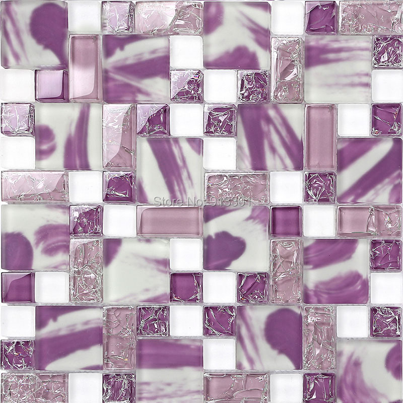 Purple glass tile backsplash