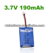U402030 3.7v 190mAh rechargeable Li-po Battery/solar cell for wrist watch/bluetooth/smart clothes/shoes(China (Mainland))