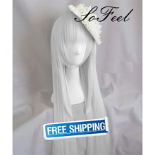 Sofeel goods in stock K RETURN OF KINGS Kushina Anna 70cm 100cm silvery long straight cosplay wigs high teperature fiber