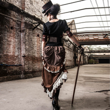 Retro Brown Steampunk Victorian Bustle Sexy Side Slit Ruffle Hem Striped Long Skirt for Ladies