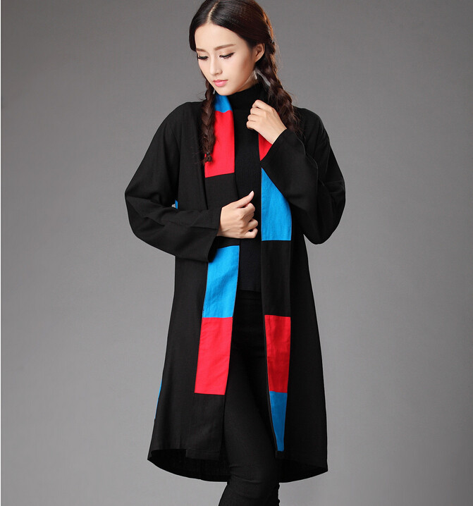 Spring and autumn original design pure linen patchwork contrast color trench coat plus size tippet cappa literary cape cloak