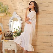 White Nightdress Plus Size 2016 Brand Sleep Lounge Women Sleepwear Cotton Nightgowns Sexy Long Robe Home Dress(China (Mainland))