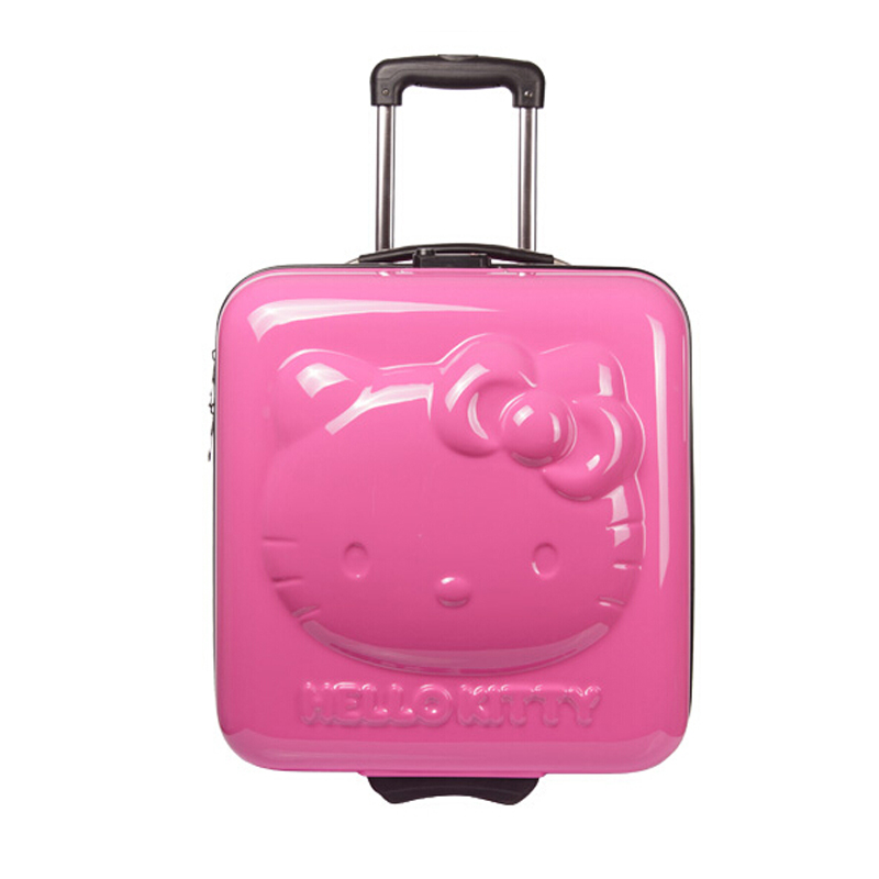 HOT!Lovely hello Kitty 18 inches girl students cartoon Pull rod box trolley case 3D child Travel luggage suitcase Boarding box(China (Mainland))