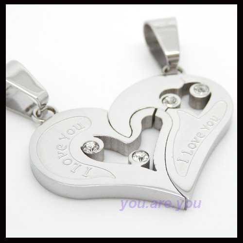 Fashion Silver Stainless Jigsaw Steel I Love You Pendant Necklace Couple Chain