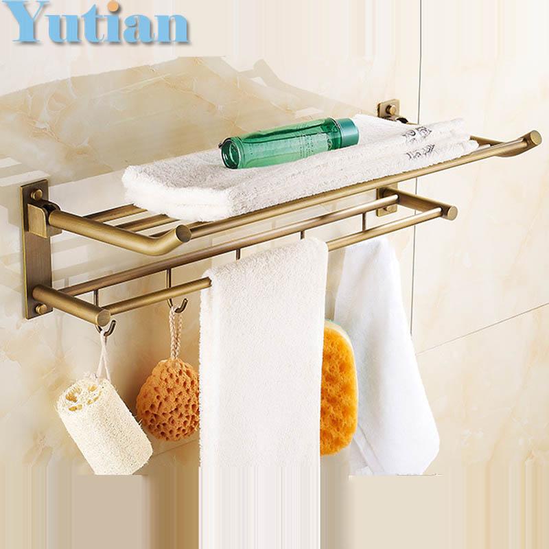 Hot Selling Antique Brass Bathroom Towel Holder Foldable Towel Rack 60cm Solid Brass Towel