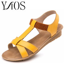 2016 Women Sandals Genuine Leather Fashion Solid Summer Sweet Flats Sandals Casual Woman Shoes Blue Pink White Yellow 430