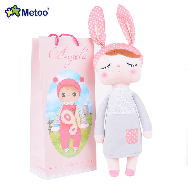 "METOO Rabbit Angela Dolls Girl Wear Skirt Plush Toys Stuffed Gift Toys for Kids Girl Bunny Dolls18*4"" for Gifts"