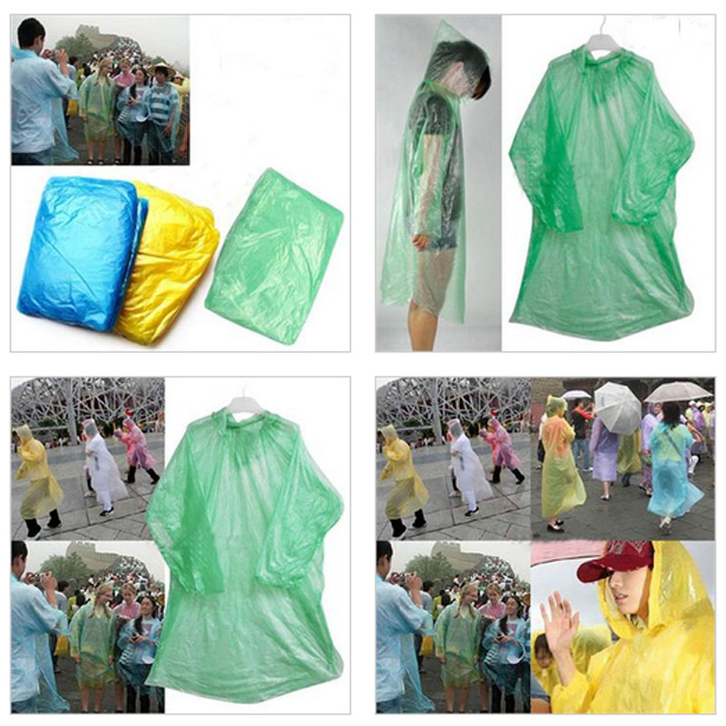 5pcs/lot Plastic One-off Travel Raincoat Disposable Rain Poncho Retail Package Free Shipping(China (Mainland))