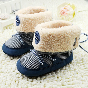 Winter Warm Baby Boy Snow Boots Lace Up Soft Sole Shoes Infant Toddler Kid 0-18 M YM51