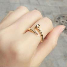 Celebrity Style Screw Nail Finger Ring Women Fashion Jewelry Silver Plated , Gold Plated , Black
