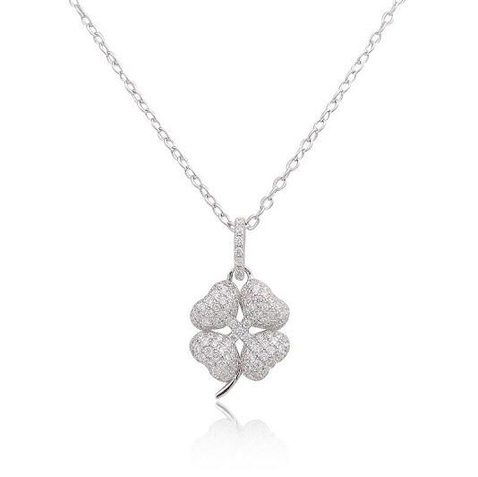 Brilliant Designer Gem Stone Clover Necklace,in REAL 925 Sterling Silver Metal,With Full Stone in Pendant,Brightest Gift For Her(China (Mainland))