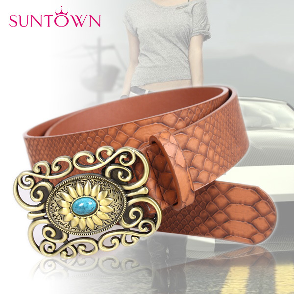 Summer Style Western Women Snake Belts Gold Metal Hollow Flower Turquoise Stone Buckle PU Leather Belts For Women DesignerBS-138(China (Mainland))