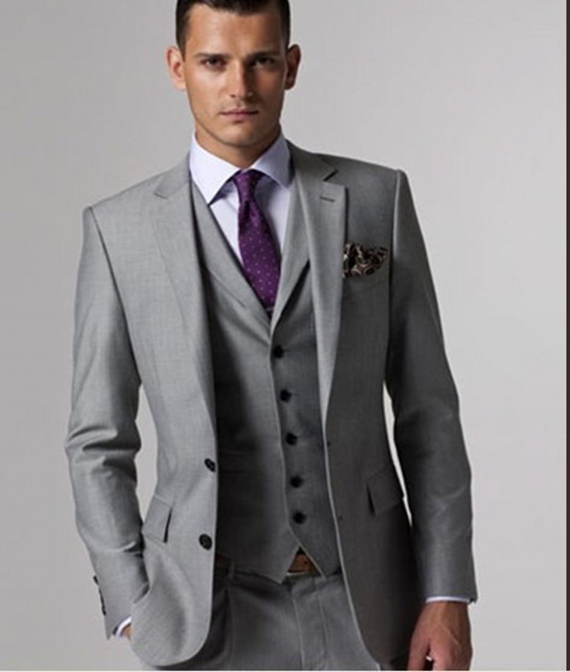 custom made groomsmen notch lapel groom tuxedos light grey