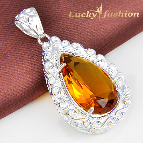 Free shipping - best salling Unique shiny Brazil citrine Pendant Delicate 925 Silver for women(China (Mainland))