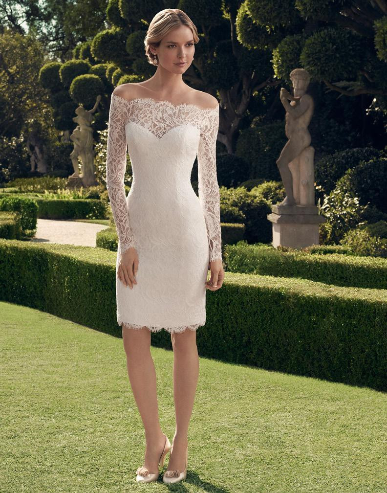2016 Summer Long Sleeves Off the Shoulder Knee-Length Sheath Short Lace Informal Reception Wedding Dresses With Sleeves(China (Mainland))