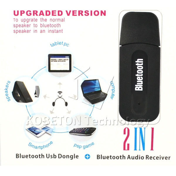 Portable USB Wireless Bluetooth Stereo Music Receiver Dongle 3.5mm Jack Audio Cable For Speaker