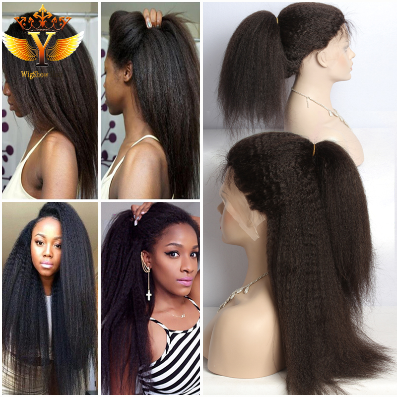 Straight Virgin Yaki Full Lace Wigs Human Hair Kinky Straight Lace Front Wig Indian Remy Hair Italian Yaki Wigs for Black Women(China (Mainland))