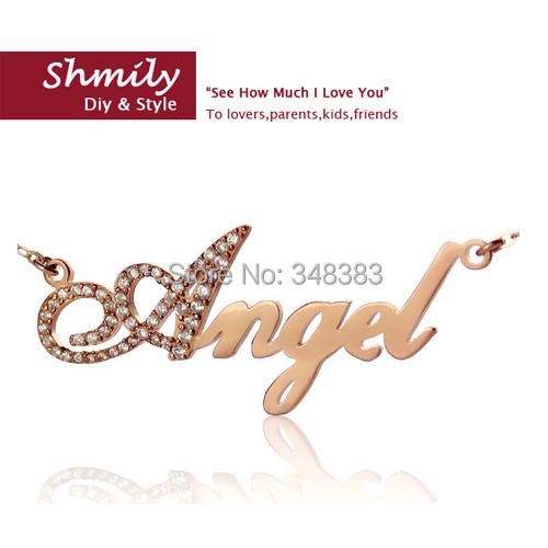 top sale 2014 rose gold script name necklace silver 925 Initial full zircons handcrafted custom jewelry for girls birthday gift(China (Mainland))