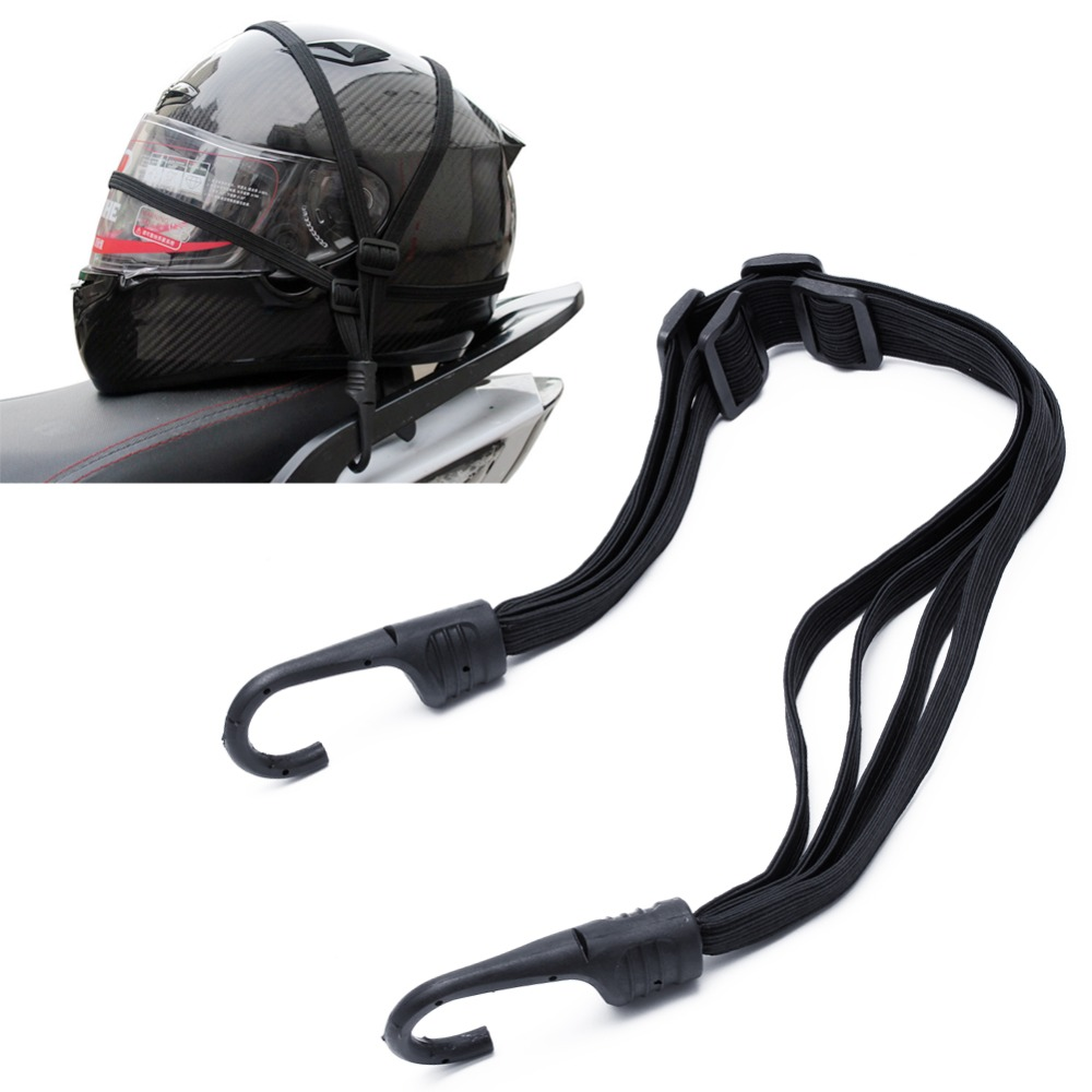 Motorcycle Flexible Retractable Helmet Luggage Elastic Rope Strap With 2 Hooks 1PC