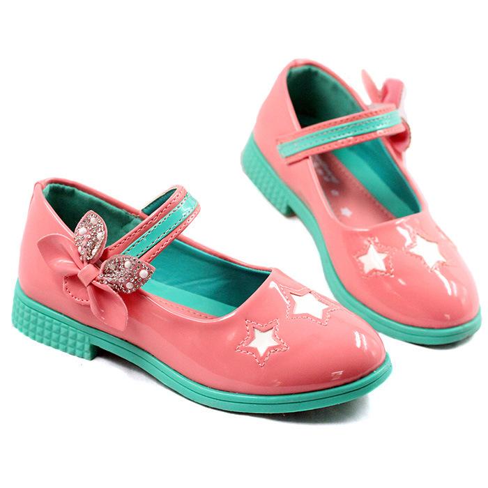 Kids Flower Girl Sandal Shoe PU Rubber Sole Flat With ...