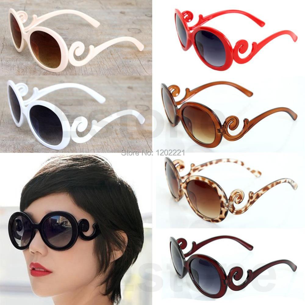 New 2014 Hot Selling Designer Inspired Round Fashion Sunglasses Women Baroque Swirl Arms Glasses Women Vintage Shades Fashion(China (Mainland))