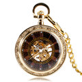 Antique Style Gold Open Face Roman Numbers Mechanical Hand Winding Pocket Watch Fashion Luxury Men Pendant