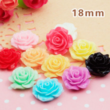 150pcs/Lot 18mm Mixed Color Resin Rose Flower Flatback Appliques Cabochon Cameo Flat Back For Phone Wedding Craft DIY(China (Mainland))